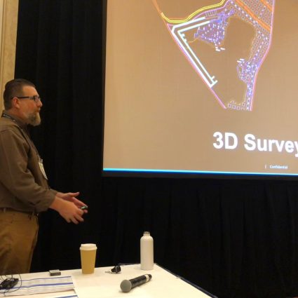 Jason Stivers presents at a break out session during HxGN Live 2019 on how the definition of land surveying is changing.